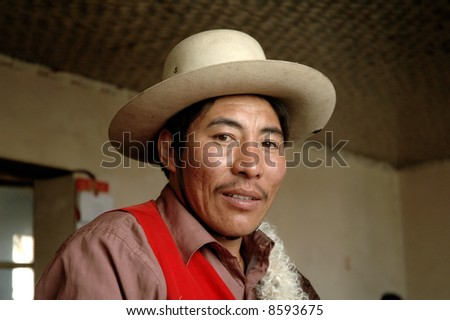 Tibetan man - stock photo