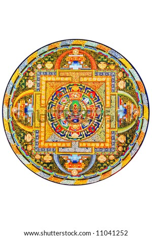 Tibetan mandala on white background - stock photo