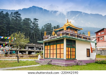 Tibetan monastery in Manali, Himachal Pradesh, India - stock photo