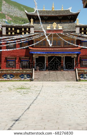 Tibetan Monastery temple in the mountains near Yunnan and Sichuan province - stock photo