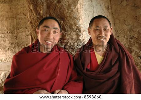 Tibetan monks - stock photo