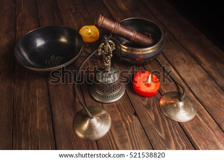 Tibetan Native Music Meditation Instruments On The Wood Table