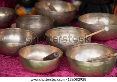 Tibetan singing bowls - stock photo
