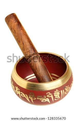 Tibetian singing bowl isolated over white background - stock photo