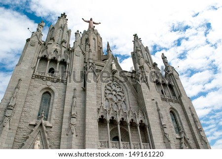 Tibidabo Church in Barcelona Spain. Tourist destination. - stock photo