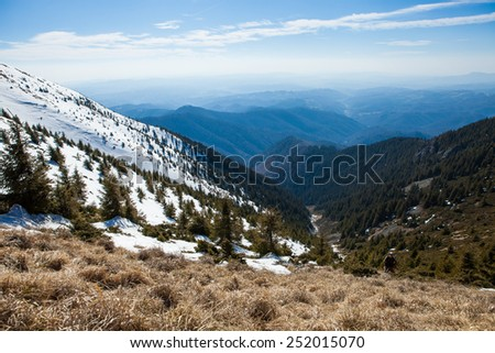 Tibles Mountains in march, Romania - stock photo