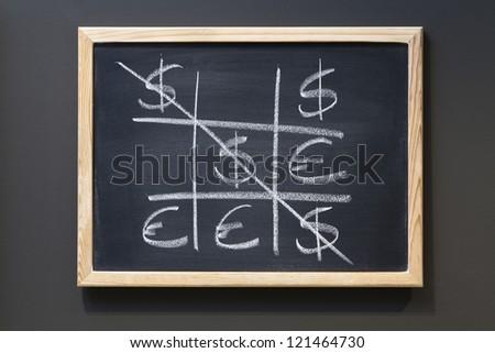 Tic Tac Toe game. Dollar vs. Euro on blackboard - stock photo