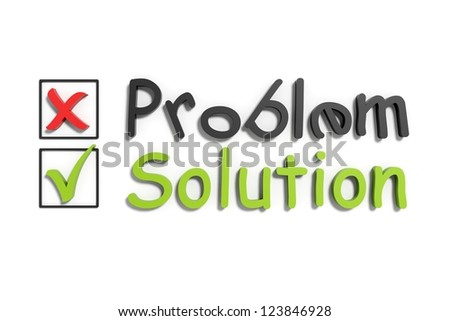 Tick and cross problem and solution on a white isolated background - stock photo