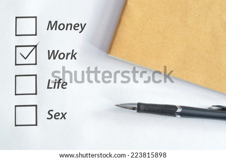 tick box for work with notebook and pen
