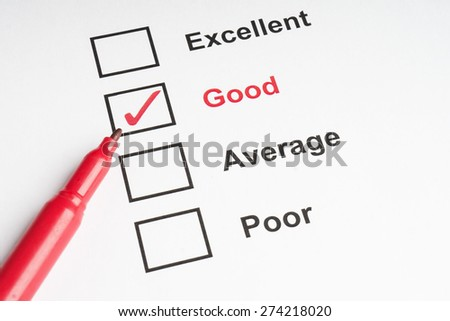 Tick Good for performance checklist with pen - stock photo