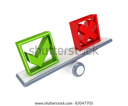 Tick mark and Cross mark icons on a simple scales. 3d rendered. Isolated on white background. - stock photo