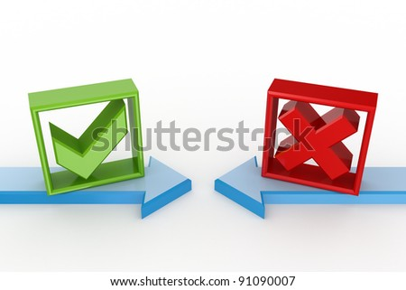 Tick mark and cross mark.Isolated on white background.3d rendered. - stock photo