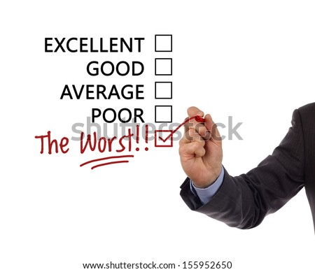"Tick placed in a new hand written ""the worst"" checkbox on customer service satisfaction survey form - stock photo"