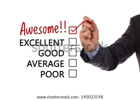 Tick placed in awesome checkbox on customer service satisfaction survey form - stock photo