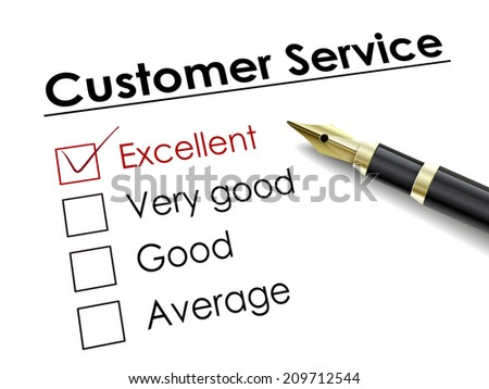 tick placed in excellent check box with fountain pen over customer service - stock photo