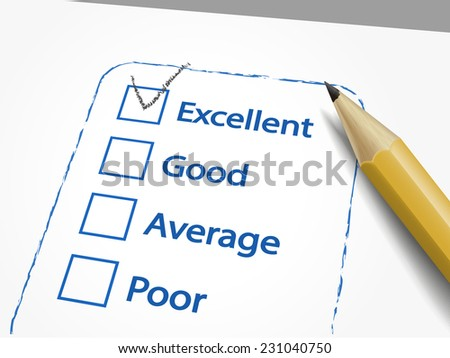tick placed in excellent check box with pencil over quality survey - stock photo