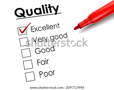 tick placed in excellent check box with red pen over quality survey - stock photo