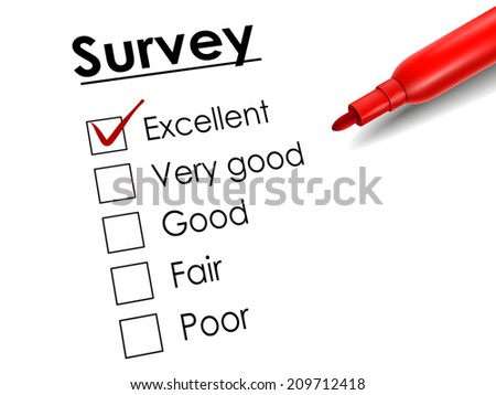 tick placed in excellent check box with red pen over survey paper
