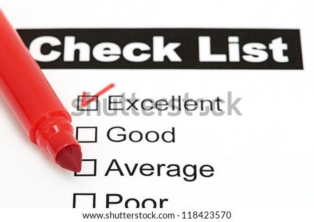 Tick placed in excellent checkbox on customer - stock photo