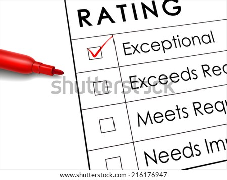 tick placed in exceptional check box with red pen over rating survey