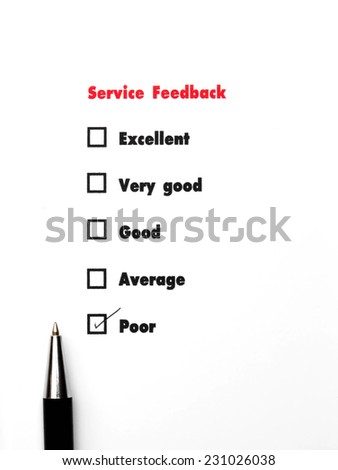 Tick placed you select choice.  excellent,very good,good,average,poor - check poor - stock photo