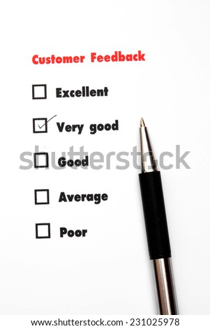 Tick placed you select choice.  excellent,very good,good,average,poor - check very good - stock photo