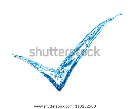 tick sign made of splashes - green concept - stock photo