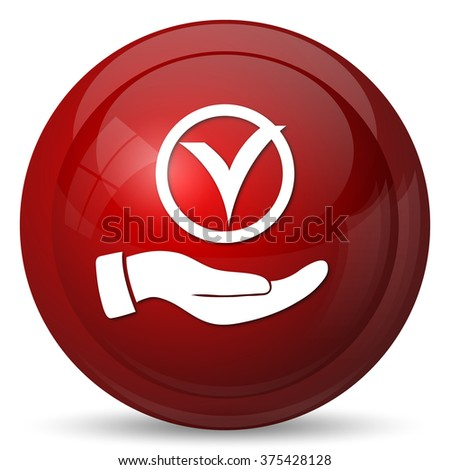 Tick with hand icon. Internet button on white background.