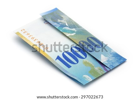 Ticket CHF 100 folded (10'000 CHF) - Isolated