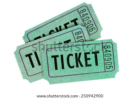 Ticket : Group of three green entry or raffle tickets isolated on a white background.  Movie ticket, theater ticket collection. - stock photo