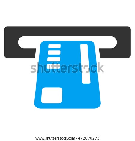 Ticket Machine icon. Glyph style is bicolor flat iconic symbol with rounded angles, blue and gray colors, white background.