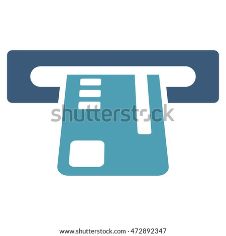 Ticket Terminal icon. Glyph style is bicolor flat iconic symbol with rounded angles, cyan and blue colors, white background.
