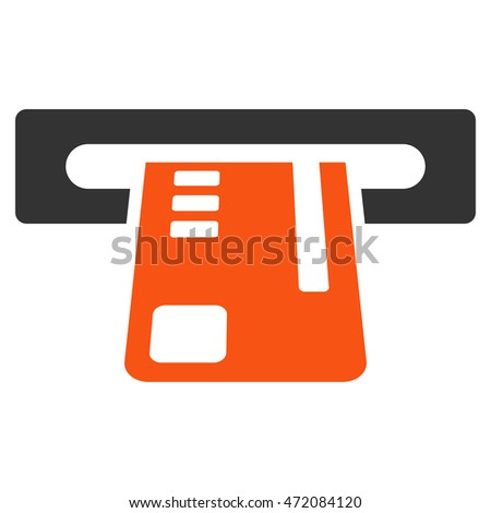 Ticket Terminal icon. Glyph style is bicolor flat iconic symbol with rounded angles, orange and gray colors, white background.