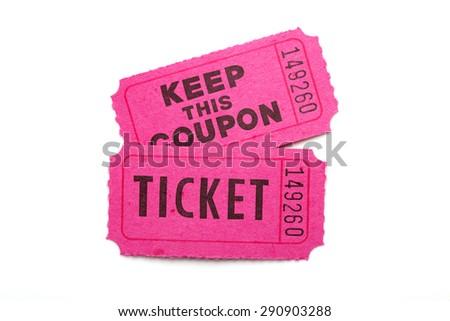 Ticket/ ticket on white background - stock photo