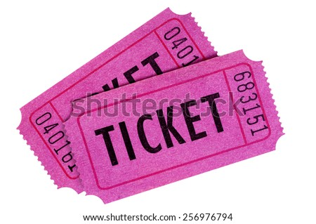 Ticket : two purple or pink raffle or movie tickets isolated.