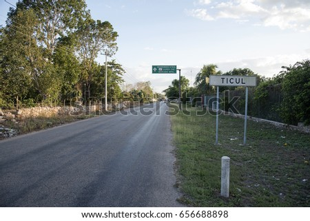 TICUL, MEXICO - JANUARY 28,2017: Main road entry to Ticul, Mexico January 28 2017