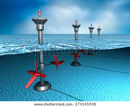 Tidal energy: generator in the ocean - stock photo