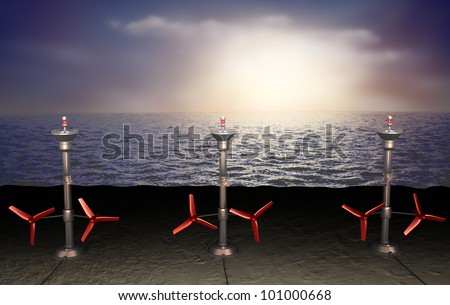 Tidal energy illustration - stock photo