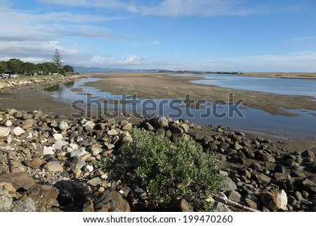 Tidal flats on estuary at Maketu, Bay of Plenty, New Zealand - stock photo