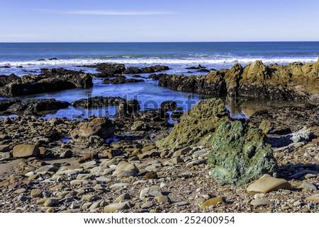 tidal pools along the big sur coast - stock photo