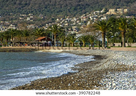 tide on the coast of the Adriatic Sea, Montenegro - stock photo