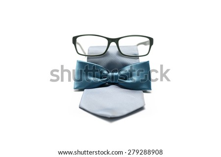 tie and bow  with eyeglasses isolated on white background - stock photo