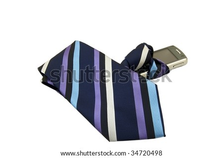 Tie attached to a smart phone isolated on a white background - stock photo