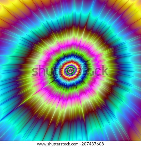 Tie Dye Color Explosion / A digital abstract fractal image with a psychedelic tie dye explosion design in turquoise, red, blue, yellow, pink and green.