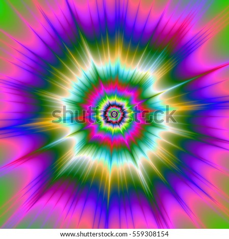 Tie Dye Explosion / An abstract digital image with a tie dye explosion design in pink, green and blue.