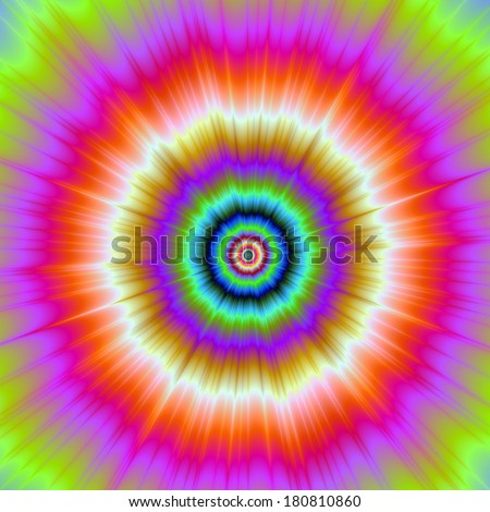 Tie-Dye in Violet Red and Green / Digital abstract fractal image with a color explosion in violet, red, blue and green. - stock photo