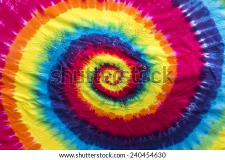 Tie Dye Swirl Table Cloth - stock photo