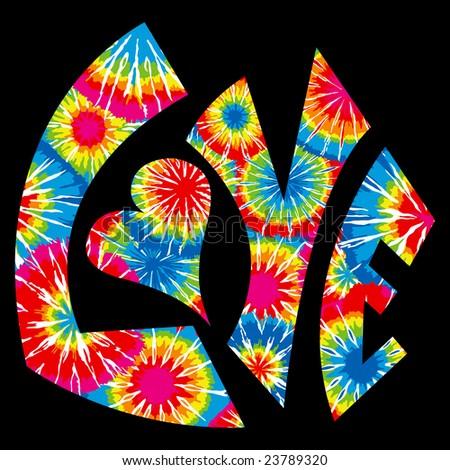 Tie Dyed Love Symbol - stock photo