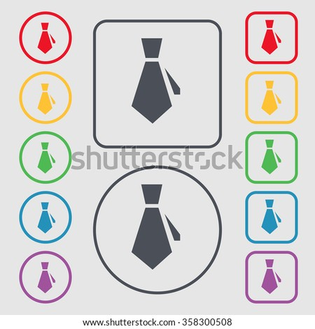 tie icon sign. symbol on the Round and square buttons with frame. illustration - stock photo