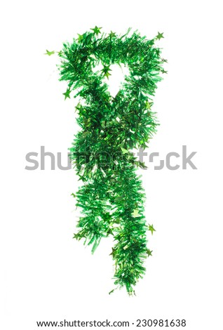 Tie of tinsel. Isolated on the white background. - stock photo